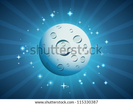 Vector illustration of cartoon Moon. - stock vector