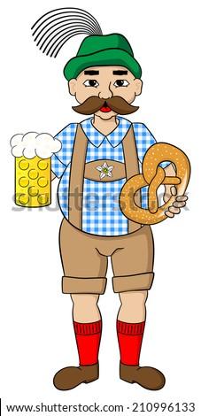 vector illustration of cartoon oktoberfest man with beer and pretzel - stock vector