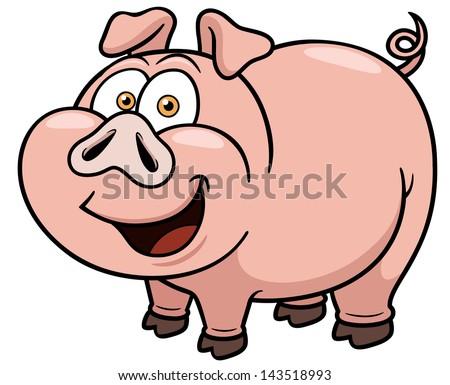 Vector illustration of cartoon pig - stock vector