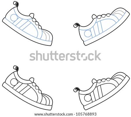 Vector illustration of cartoon running shoes in a walking motion - stock vector
