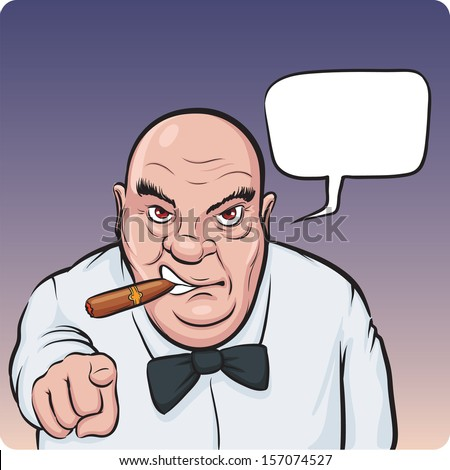 Vector illustration of cartoon serious boss with speech bubble. Easy-edit layered vector EPS10 file scalable to any size without quality loss. High resolution raster JPG file is included. - stock vector