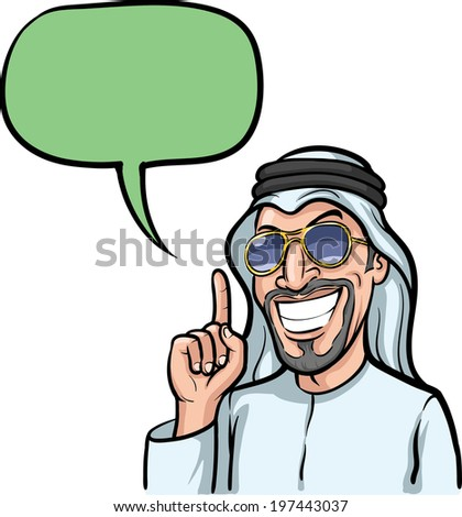 Vector illustration of cartoon - smiling arab man pointing with finger. - stock vector