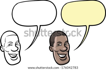 Vector illustration of cartoon smiling black man face.  - stock vector
