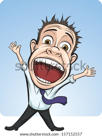 Vector illustration of cartoon vector screaming business person. Easy-edit layered vector EPS10 file scalable to any size without quality loss. High resolution raster JPG file is included. - stock vector
