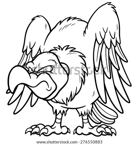 Vector illustration of Cartoon vulture - Coloring book - stock vector