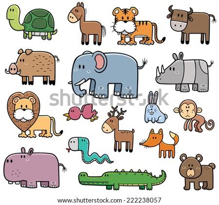Vector Illustration of Cartoon Wild Animals set - stock vector