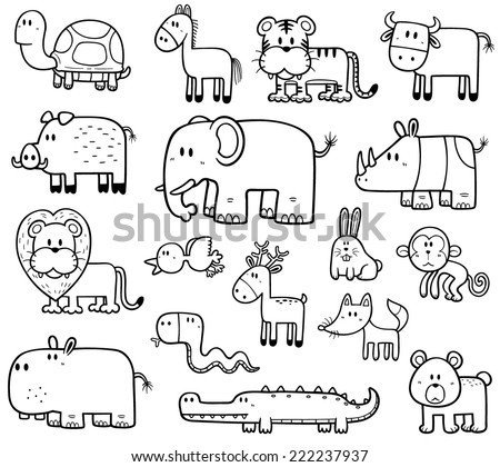 Vector Illustration of Cartoon Wild Animals set - Coloring book - stock vector
