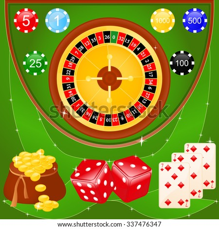 Vector illustration of casino elements: roulette, chips, dice and cards. - stock vector