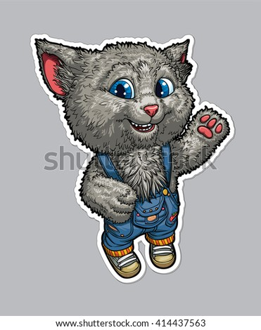 Vector illustration of cat funny cartoon character. Cheerful ginger kitten in denim shorts and sneakers - stock vector