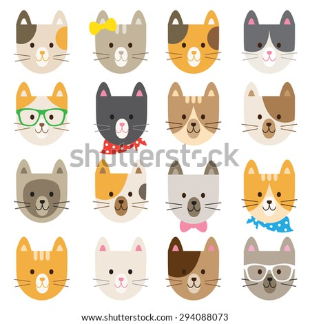 Vector illustration of cats in different colors and patterns. - stock vector