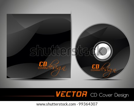 Vector illustration of CD cover design template with copy space in black and orange color. EPS 10, easy to edit. - stock vector