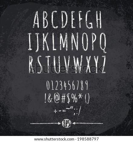 Vector illustration of chalked alphabet - stock vector