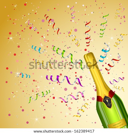 vector illustration of Champagne Bottle on party background - stock vector