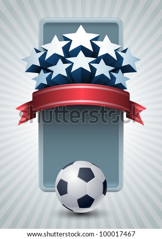 Vector illustration of Championship Soccer ball banner design. - stock vector