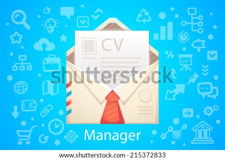 Vector illustration of character envelope office occupation with a summary on the blue background with different icons - stock vector