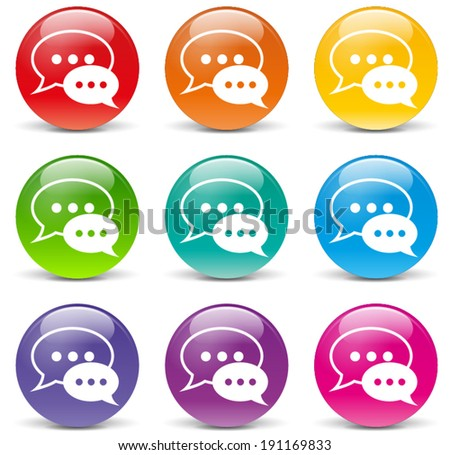 Vector illustration of chat icons on white background - stock vector