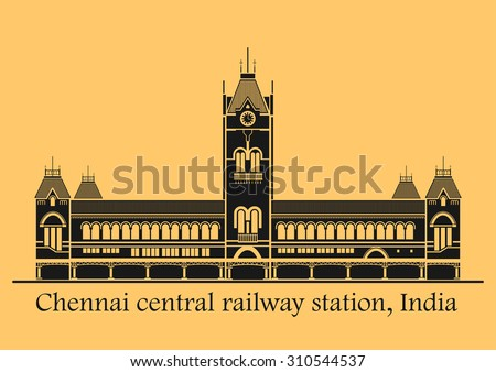Vector illustration of Chennai central station in India - stock vector
