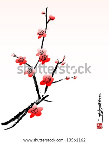 vector illustration of cherry blossom painting - stock vector