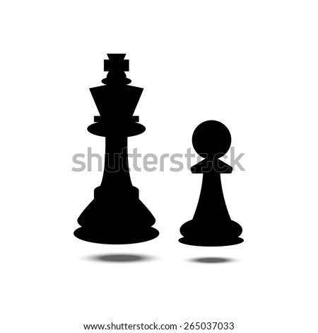 Vector illustration of chess. Two figures with shadows. Icon. - stock vector