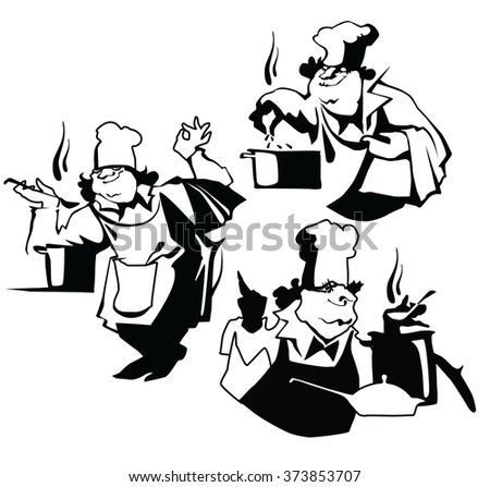Vector illustration of chief cooker made in flat vector style. Cafe and restaurant design element. Cook characters. Isolated objects on white background. - stock vector