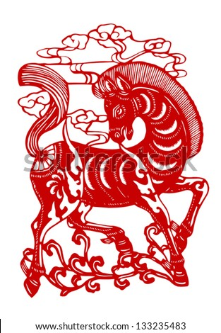 Vector illustration of Chinese zodiac signs: horse - stock vector