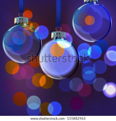 Vector illustration of Christmas Balls on blurred lights - stock vector