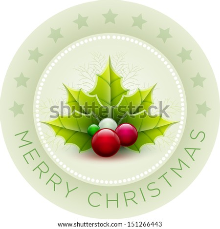 Vector illustration of Christmas Card. Vector ornament object. - stock vector