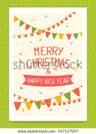 Vector illustration of christmas card with hand written text on light background with garlands. Bright color. Hand draw line art design for web,site,poster,board,postcard,print and greeting card.  - stock vector