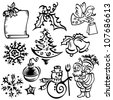 Vector illustration of Christmas elements design set - stock vector