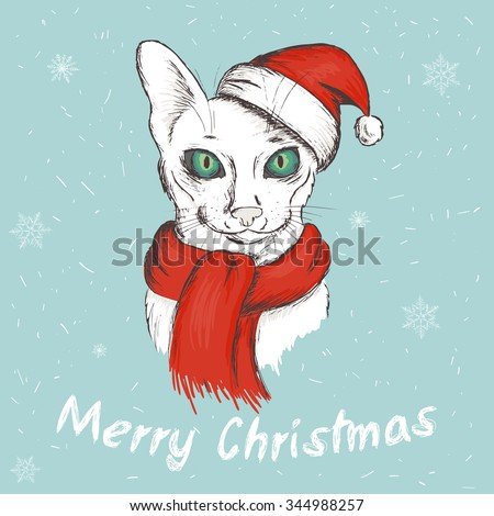 vector illustration of christmas green eyed cat. It is wearing a red christmas hat and a scarf - stock vector