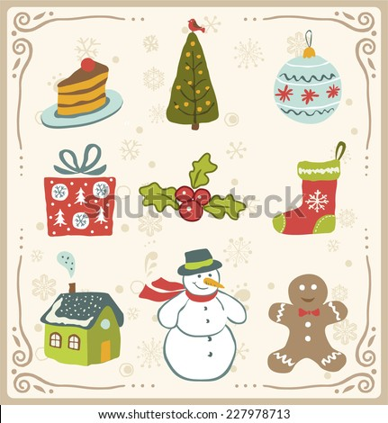 Vector illustration of Christmas icons  design set.  - stock vector