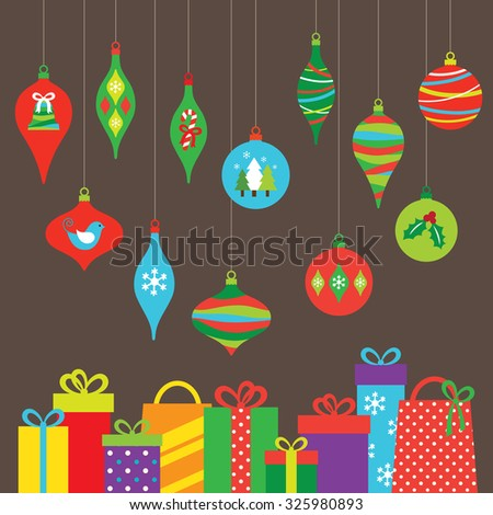 Vector illustration of Christmas ornaments and gifts. - stock vector