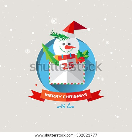 Vector illustration of Christmas Snowman with gifts icon in flat design style. Decor element for invitations, greeting cards, posters. - stock vector