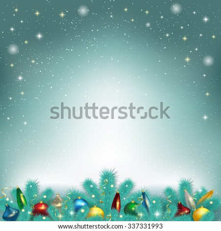 Vector illustration of Christmas tree toys, liashyk on the fir tree branches, Christmas background, greeting card. - stock vector