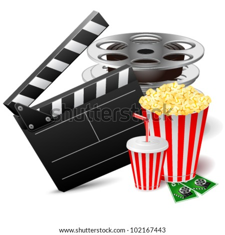Vector illustration of cinema clap with film reels, popcorn and drink - stock vector