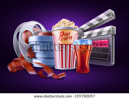 Vector illustration of cinema theme on dark background - stock vector