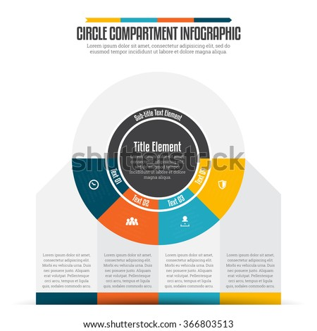 Vector illustration of circle compartment infographic design element. - stock vector