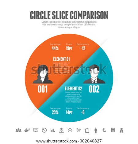 Vector illustration of circle slice comparison infographic design element. - stock vector