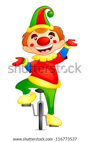vector illustration of circus joker on cycle - stock vector