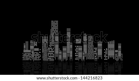 vector illustration of cities silhouette on black background - stock vector