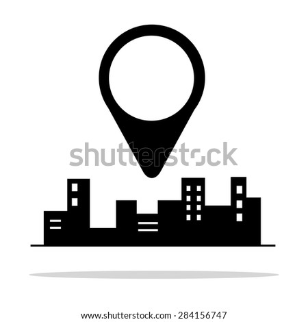 vector illustration of cities silhouette. Pin on the city. - stock vector