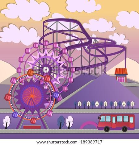 Vector illustration of City amusement park - stock vector