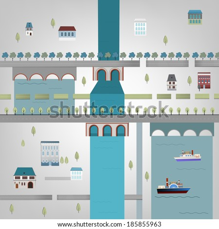 Vector illustration of city map - stock vector
