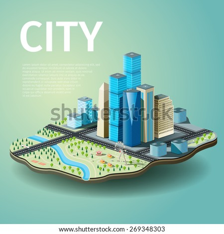 Vector illustration of city with skyscrapers and amusement park - stock vector