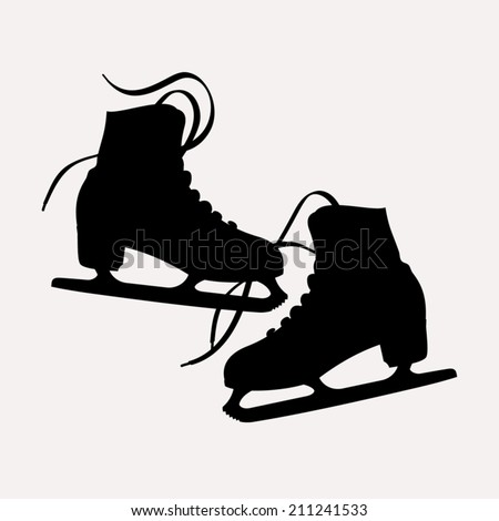 Vector illustration of classic ice skates for ladies black silhouettes | Pair of ice skates silhouettes isolated - stock vector