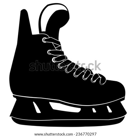 Vector illustration of classic ice skates for ladies black silhouettes  Pair of ice skates silhouettes isolated - stock vector