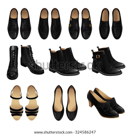 Vector illustration of classic shoes and boots style. Set of mens and womens leather black shoes. Pair of black formal shoes for businessmen. Model of footwear: monk, loafer, oxford, derby  - stock vector