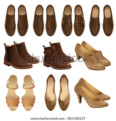 Vector illustration of classic shoes and boots style. Set of mens and womens leather brown shoes. Pair of brown formal shoes for businessmen. Model of footwear: monk, loafer, oxford, derby  - stock vector