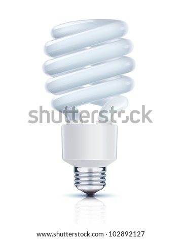 Vector illustration of classy energy saving compact fluorescent lightbulb on a white background - stock vector
