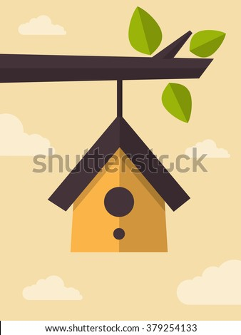 Vector Illustration of Clear Sky and a Bird House Hanging of a Branch, Flat Design Style.  - stock vector